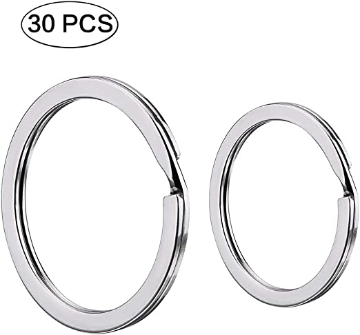 House 30 Pieces Split Key Rings Stainless Steel Key Rings Round Flat Key Chain Rings for Car 30mm 20mm 25mm Key Accessories