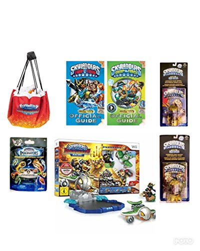 NEW! SKYLANDER (7pc) BUNDLE DEAL: SUPERCHARGERS RACING STARTER PACK, 2 FUN PACKS, MYSTERY CHEST, PLAY STORAGE MAT, & 2 GUIDE BOOKS W/ POSTERS (Nintendo Wii) by best bargins