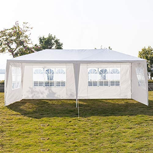 Henf 10 X 20 FT Heavy Duty Canopy Tent Gazebo Party Tent Outdoor Patio Wedding Party Tent, Waterproof UV Protection Tent with Spiral Tubes White 10x20ft 4 Removable Sidewalls