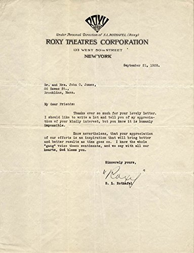 samuel-roxy-rothafel-typed-letter-signed-09-21-1928