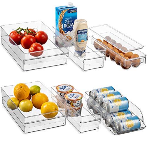 HEAVY DUTY Refrigerator Organizer Bins [Set of 6] Freezer & Fridge Bins, Neat Organizer (4 Clear Plastic Storage Bins, 1…