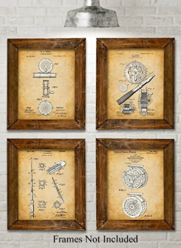 Original Fly Fishing Rods and Reels Patent Art Prints - Set of Four Photos (8x10) Unframed - Great Gift for Fly Fisherman, Cabin or Lake House