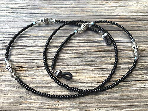 Black Silvertone Skull Handmade Beaded Eyeglass Chain