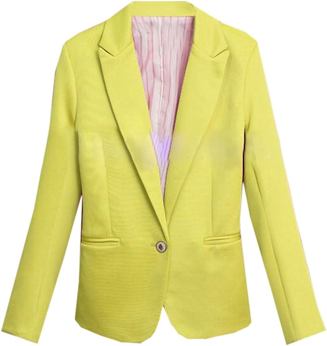 Bravepe Women Slim Pockets Solid Long Sleeve OL Business One Button Blazer Jacket Suit Coat