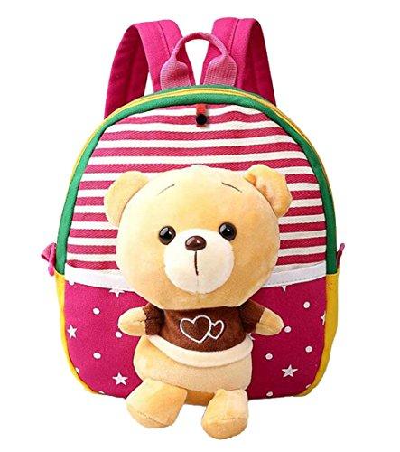 Scheppend Staccabile Bambola Del Fumetto Zainetto Bimba, Zaini per la Scuola (Rosso orso)