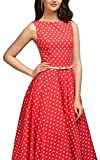 Generic Women's 1950s Sleeveless Dress Polka Dots Retro Cocktail Swing Dress Red M