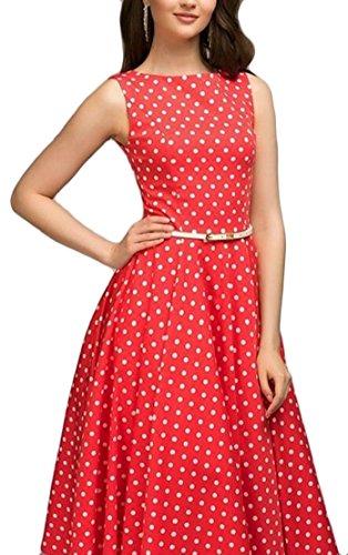 Generic Women's 1950s Sleeveless Dress Polka Dots Retro Cocktail Swing Dress Red M by GenericWomen