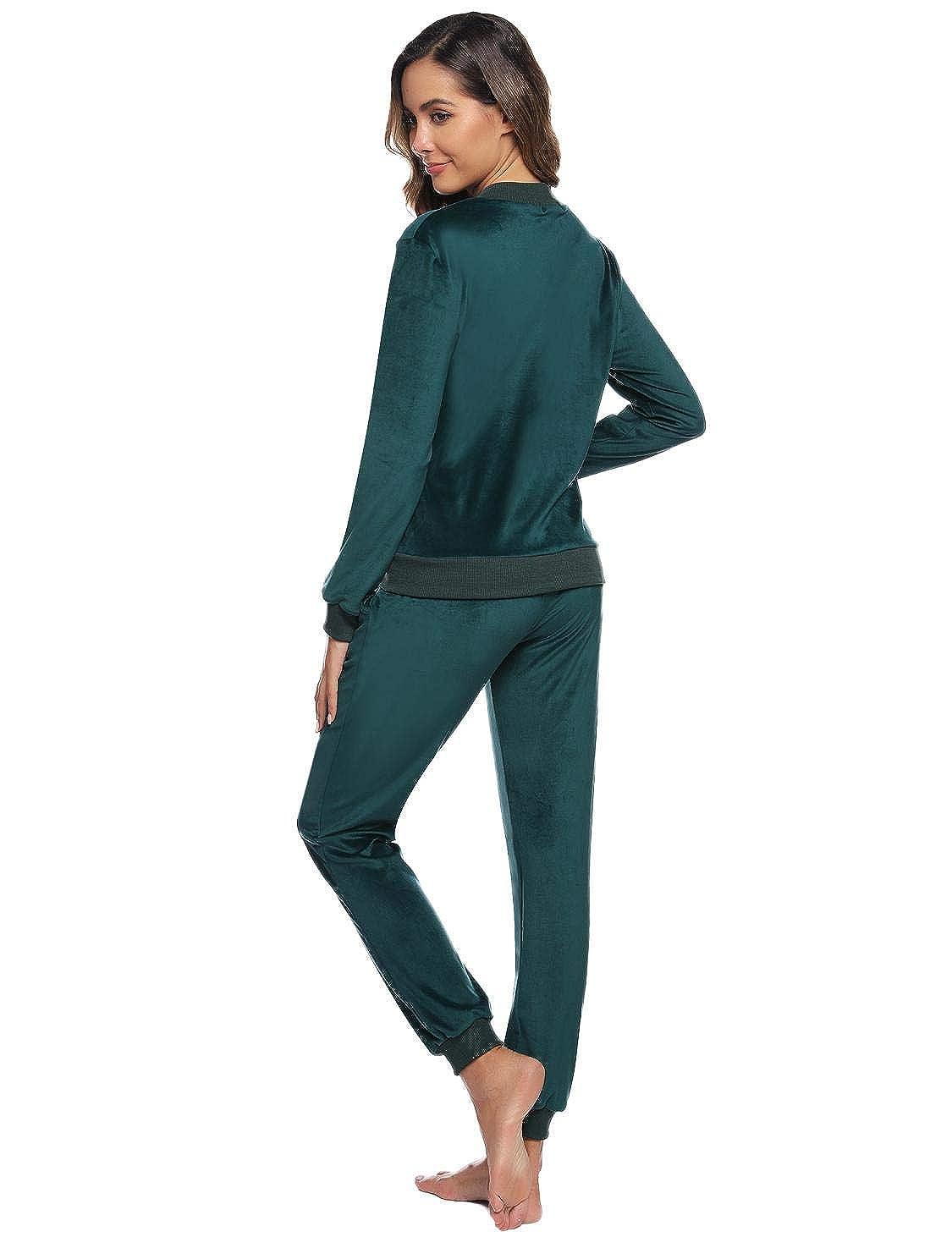 Akalnny Hausanzug Damen Freizeitanzug Samt Velours Schlafanzug Pyjama Bequemer Lose Fit Jacke Zweiteiliger Schlafanzug mit Rei/ßverschluss S-XXL