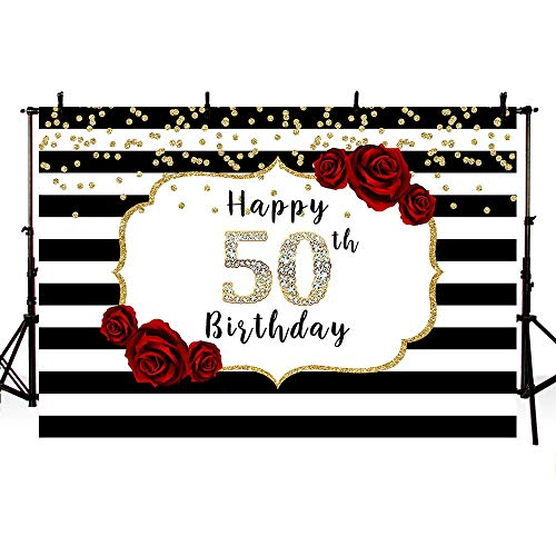 MEHOFOTO Woman Diamond Happy 50th Birthday Photo Studio Booth Background Black and White Stripes Red Rose Flowers Gold Dots Party Banner Backdrops for Photography 8x6ft