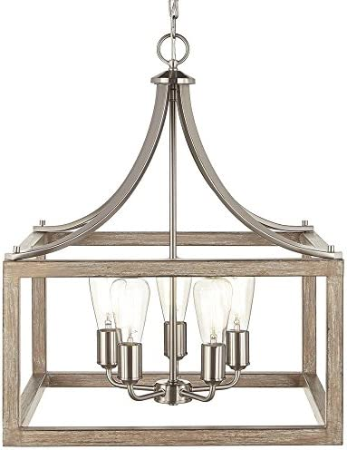 Home Decorators Collection Boswell Quarter 20 in. 5-Light Brushed Nickel Chandelier with Painted Weathered Gray Wood Accents