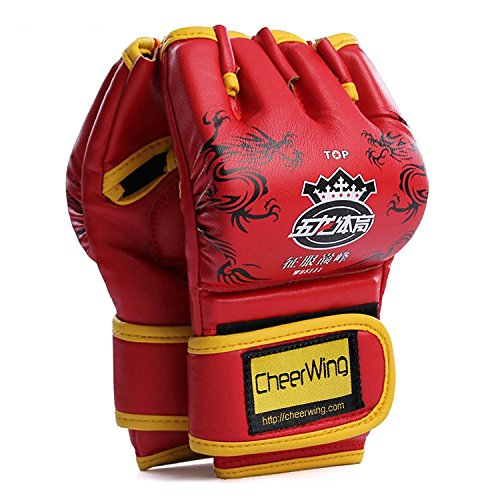 Cheerwing Fingerless Boxing Gloves MMA UFC Sparring Grappling Fight Punch Ultimate Mitts Kickboxing -
