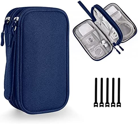 Electronics Accessories Organizer, Bevegekos Universal Carrying Case Bag for Small Tech and Accessories, for Travel (Blue)
