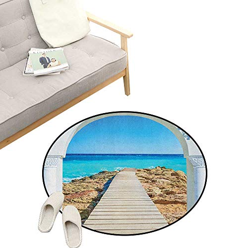 - Coastal Round Rugs ,View from an Open Window Curve on The Sea with a Quay Wooden Coastline, Design Home Decoration 31