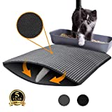 UPSTONE Cat Litter Mat Litter Trapping, Size 24''x18'' Honeycomb Double Layer Waterproof Easy to Clean Cat Mats for Litter Boxes (Grey)