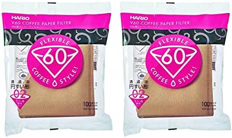 Hario 02 100-Count Coffee Natural Paper Filters, 2-Pack Value Set (Total of 200 Sheets)