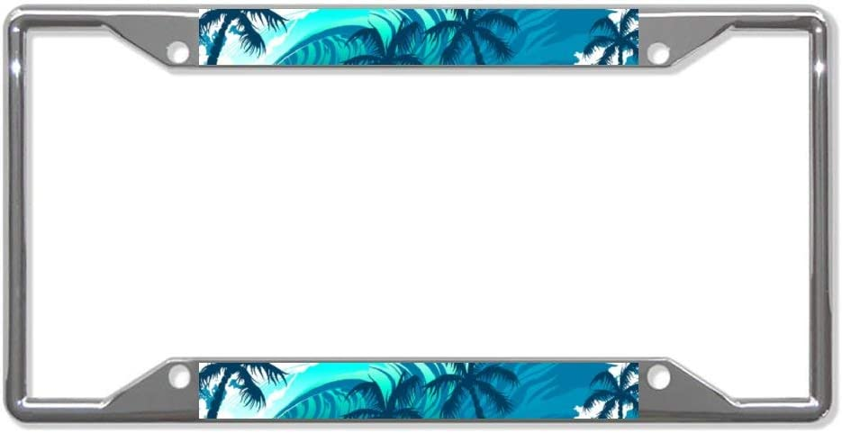 Chrome Metal Auto License Plate Frame Tag Holder Frame Cover 12X6 for Universal Cars UTF4C Tropical Surf Wave with Palm Trees Car License Plate Frame