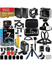 $439 Get GoPro HERO7 Hero 7 Black Action Camera and Deluxe Accessory Bundle - Includes: SanDisk Extreme 64GB microSDHC Memory Card + Underwater Housing + Underwater LED Light & Much More
