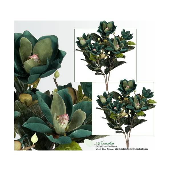 2′ Magnolia Artificial Silk Flower Bushes (Green) for Home, Garden and Decoration, with No Pot, , with No Pot, (Pack of 2)