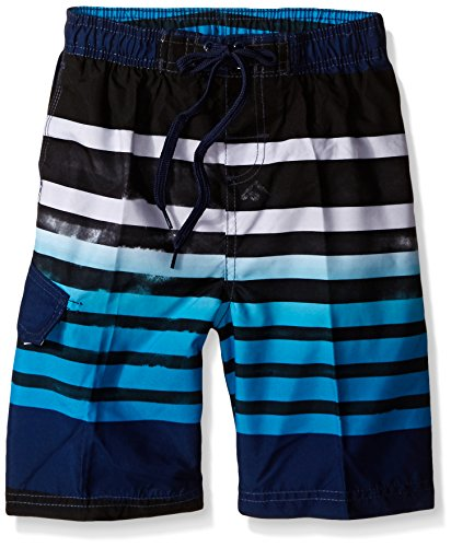 Kanu Surf Little Boys' Reflection Quick Dry Beach Swim Trunk, Navy, Large (7) (Boys Swim Trunks Size 7)