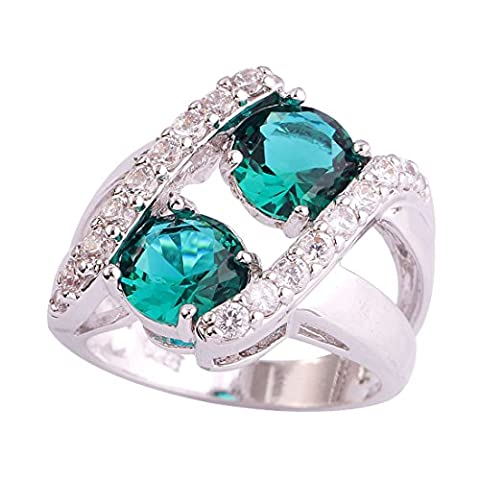Empsoul Women's 925 Sterling Silver Natural Gorgeous Filled 3.8cttw Green & White Topaz Wedding - Topaz Button