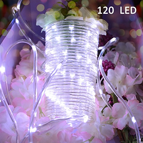 Vmanoo Outdoor String Lights 120 LED Battery Operated String Fairy Christmas Lighting Decor Timer For Outdoor Indoor Garden Patio Lawn Holiday Bedroom Wedding Xmas Decorations (White)