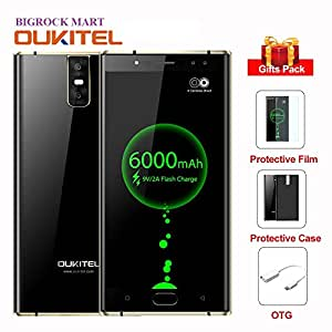 Bigrock Mart New Arrival16.0MP +2.0MP Front Camera, 5.5inch 6000mAh OUKITEL K3, 4G Smartphone MTK6750T Octa-Core Android 7.0 4GB+64GB Mobile Phone