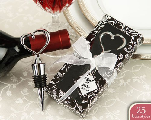 Chrome Heart Bottle Stopper in Personality Box ( 25 styles/colors) (Set of 288) - Baby Shower Gifts & Wedding Favors (Personality Box Favors)