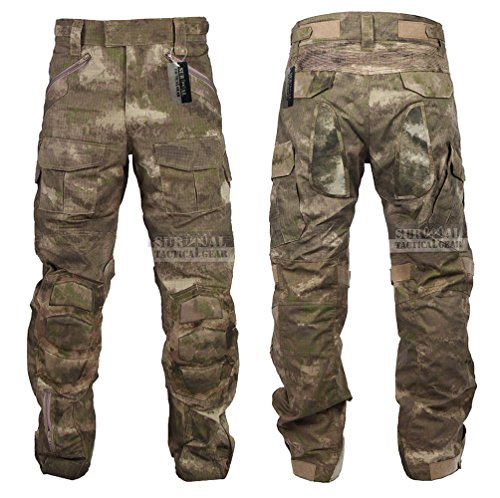 Tactical Combat Pant Hiking Hunting Airsoft SWAT Military Camo Army Trousers Wearproof Ripstop Pants with Knee Pads (A-TACS AU, 36)