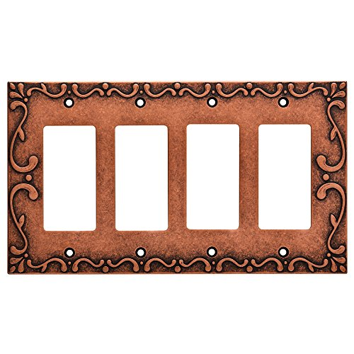 Franklin Brass W35081-CPS-C Classic Lace Quad Decorator Wall Plate/Switch Plate/Cover, Sponged Copper - Collection Quad Outlet Plate