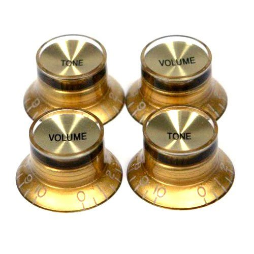 Gold with Gold Insert Les Paul Guitar Style Top Hat Push-On Knobs, Pkg. of 4