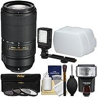 Nikon 70-300mm f/4.5-5.6E VR AF-P ED Zoom-Nikkor Lens with 3 UV/CPL/ND8 Filters + Flash & Diffuser + Video Light + Kit