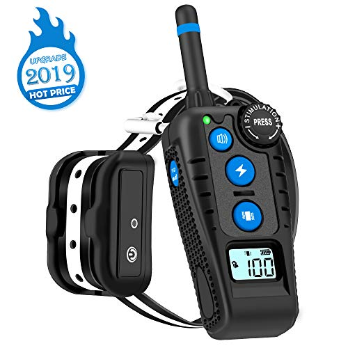 WILLBEST Dog Training Collar with Rotary Dial Remote, Waterproof and Rechargeable Shock Reflective Collar with Beep, Vibration and Shock Modes for Dog