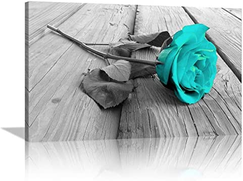 4 Teal Blue Rose Floral Canvas Print Painting Wall Art Home Decor Craft Art Xmas