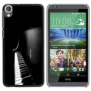 TopCaseStore / la caja del caucho duro de la cubierta de protección de la piel - Piano Keys - HTC Desire 820