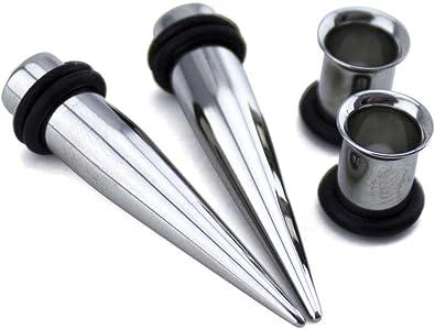 PAIR 1 GAUGE 1g-7mm STEEL EAR TAPERS /& TUNNELS PIERCING STRETCHING KIT
