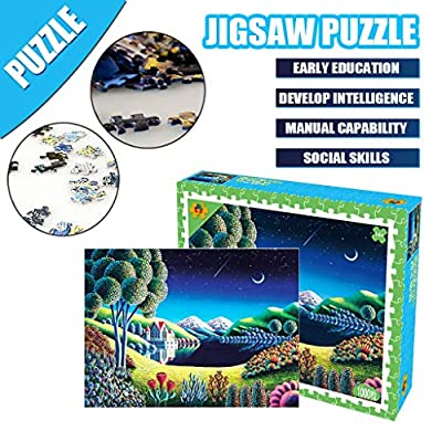 Lilitop 1000 Piece Jigsaw Puzzle for Kids and Adult, Quiet Night Jigsaw Puzzles, Build Short Term Memory, Concentration and Physical Dexterity, Perfect for Group or Family Activity (A): Toys & Games