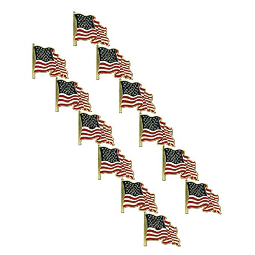 Waving USA Flag Lapel Pin (12 - Store In Online Usa