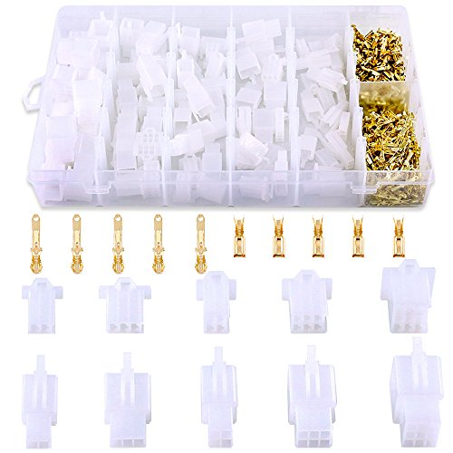(Glarks 580Pcs 2.8mm Pitch 2 3 4 6 9 Pin Wire Connectors Housing Terminal, Male & Female Plug Housing and Pin Header Crimp Wire Terminals Connector Assortment Kit for Motorcycle, Bike, Car, Boats)