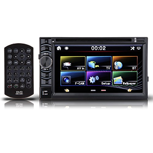 Universal Double 2 Din Car Stereo DVD CD Player In Dash 6.2 Inch Touch Screen Support Radio Bluetooth Aux-in USB SD Card Steering Wheel Control Rolling Light Button Rearview Camera Input, US Stock