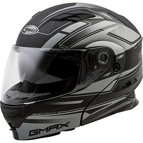 GMAX MD-01 Adult Stealth Modular Motorcycle Helmet - Matte Black/Silver/X-Large