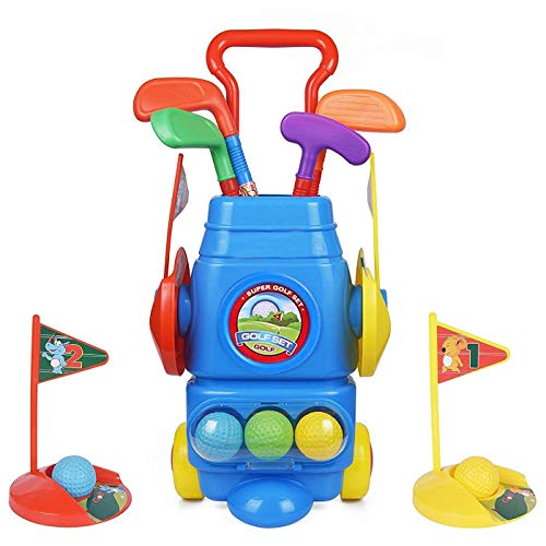 ToyVelt Kids Golf Club Set – Golf CartWith Wheels, 4 Colorful Golf Sticks, 4 Balls & 2 Practice Holes – Fun Young Golfer Sports Toy Kit for Boys &Girls – Promotes Physical & Mental Development ()