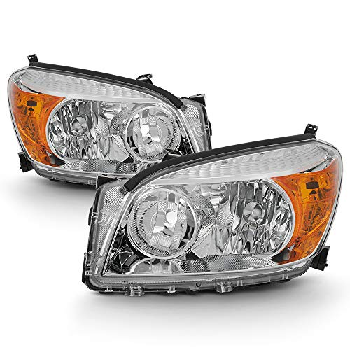 ACANII - For Chrome 2006 2007 2008 Toyota RAV4 Headlights Headlamps Replacement 06-08 Driver & Passenger Side