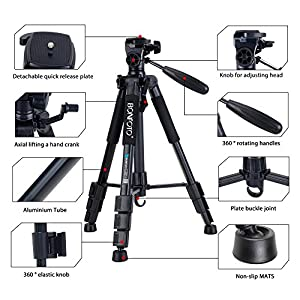 BONFOTO Q111 Camera Tripod 55-Inch Professional Aluminum Camcorder Stand with Pan Head and Phone Holder Mount for Projector Gopro DSLR Canon Nikon Sony DV Video and Smartphones Live Broadcast(Black)