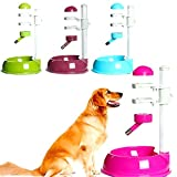 Safety Automatic Pet Water Bottle Feeder Dispenser Food Stand For Cat Dog Drink,Red