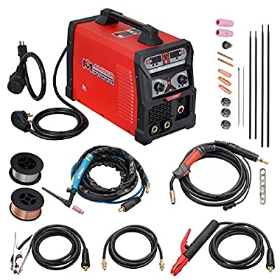 205 Amp MIG/Flux Cord Wire, TIG Torch, Stick Arc Welder 3-in-1 Combo Weiding (205A MIG TIG Stick Arc Welder)