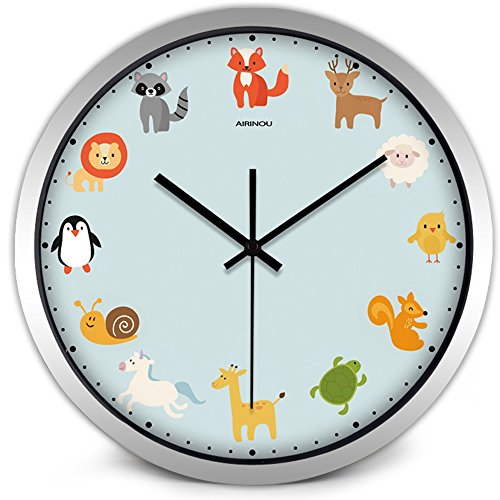 oon Non-Ticking Zoo Wall Clock for Kids Baby Children Room(10inch, Silver) ()
