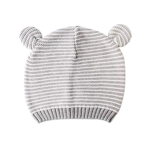 LLmoway Kid Knit Hat Baby Boys Girls Fall Winter Beanie Infant Toddler Cotton Crochet Skull Cap Grey