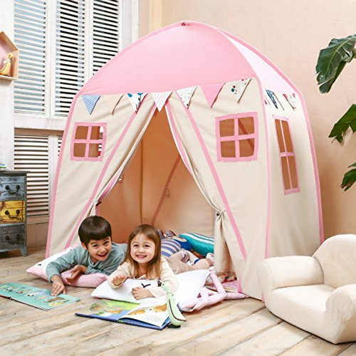 love tree Kids Indoor Princess Castle Play TentsOutdoor Large Playhouse Secret Garden Play Tent - Portable for Indoor and Outdoor Fun Plays Pink One [並行輸入品] B07HLDVH3R