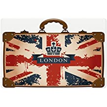 Union Jack Pet Mats for Food and Water by Ambesonne, Vintage Travel Suitcase with British Flag London Ribbon and Crown Image, Rectangle Non-Slip Rubber Mat for Dogs and Cats, Dark Blue Red Brown