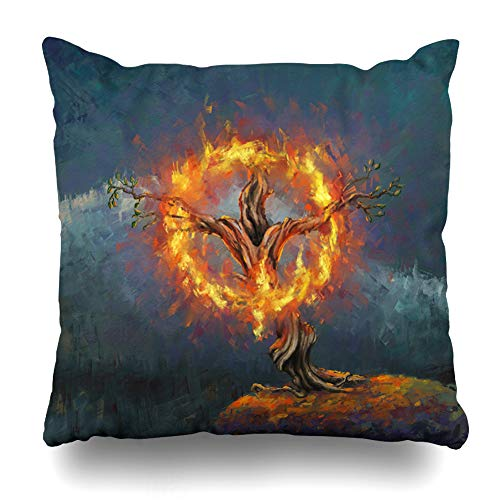 Ahawoso Throw Pillow Cover Scratch Blue Moses God Burning Bush Digital Painting In Israel Burn Red Oil Bible Mount Nature Design Decorative Pillowcase Square Size 20
